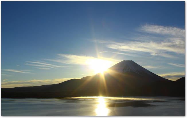 夜明けに日が昇っていく富士山の風景