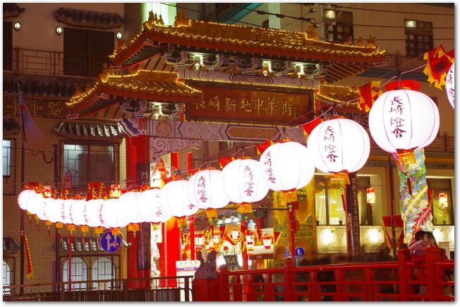 長崎ランタンフェスティバル開催中の中華門の様子