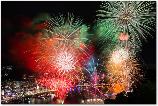 熱海花火で夜空に打ち上げられている大輪の花火