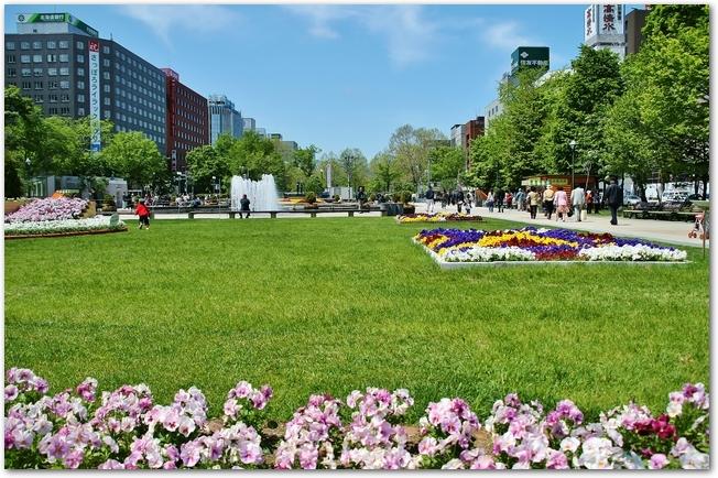 ライラックの咲いている大通り公園の様子