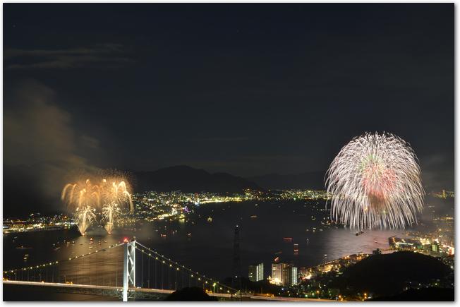 関門海峡花火大会の打ち上げ花火の様子