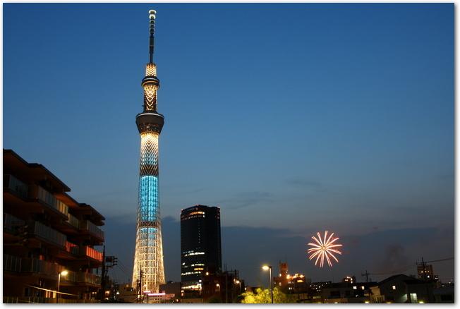 東京スカイツリーと隅田川花火大会で打ち上げられた花火