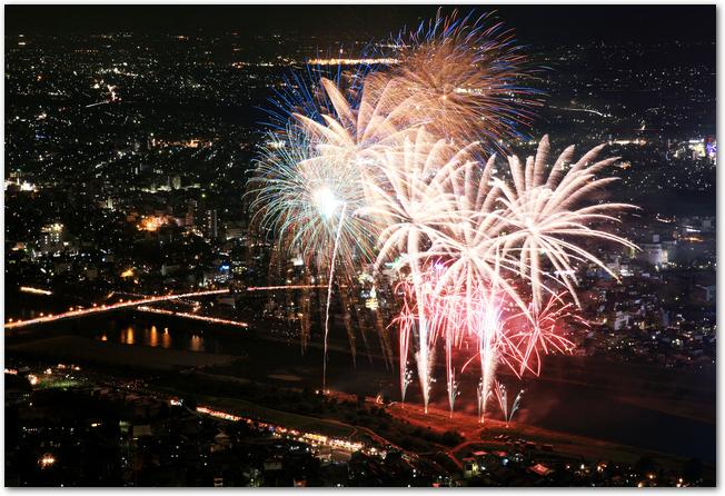 高台から見た長良川花火大会の打ち上げ花火と夜景