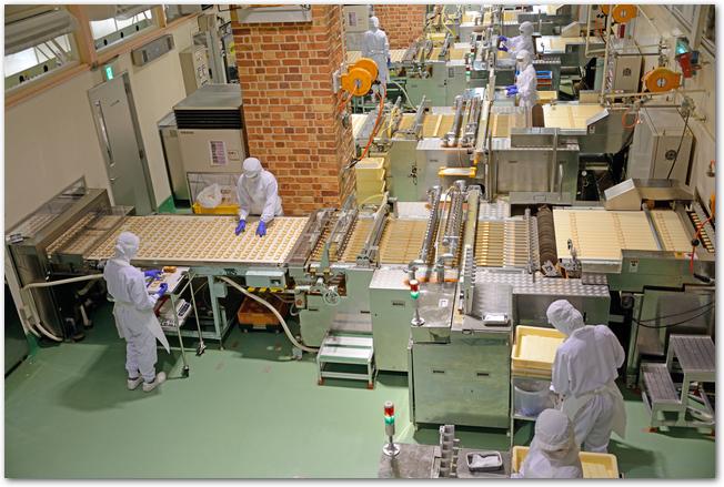 白い恋人パークで商品が作られている工場の様子