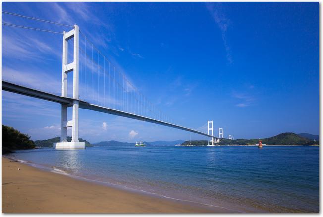 晴れた日のサンライズ糸山と来島海峡大橋の様子