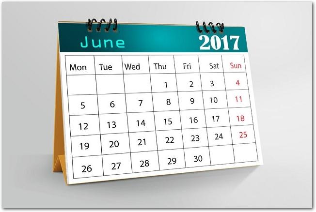 2017年6月の卓上カレンダー