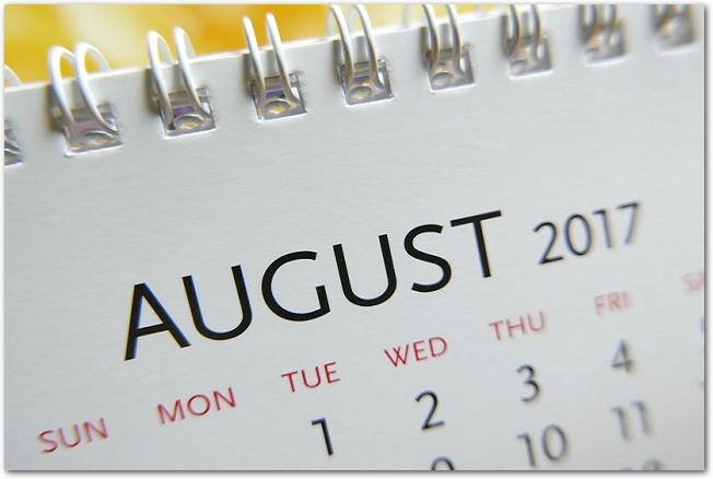 2017年8月のマンスリーカレンダーのアップ