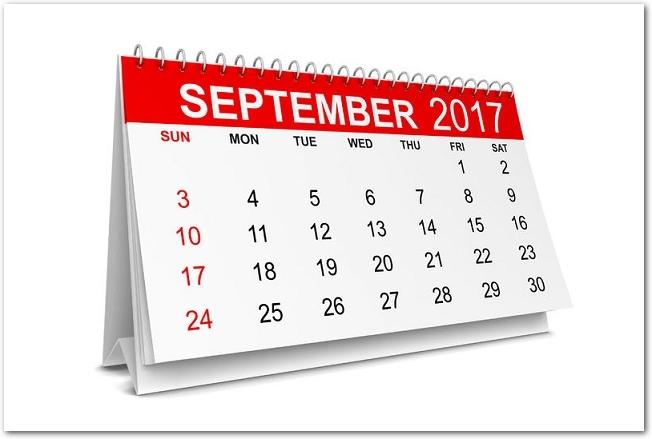 白背景に置かれた2017年9月の卓上マンスリーカレンダー
