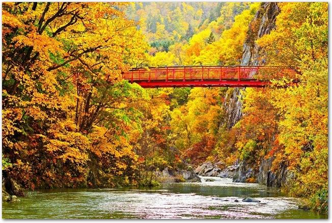 定山渓の紅葉した木々と赤い橋