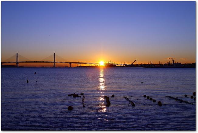 海の向こうにレインボーブリッジと日の出が見える風景