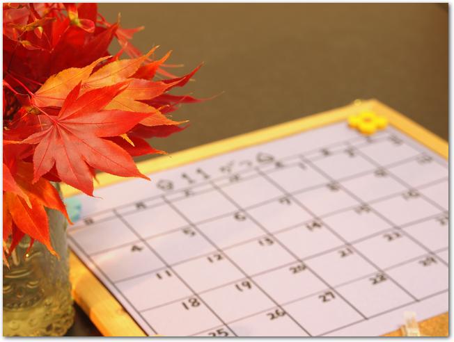 傍に紅葉が置いてある11月のカレンダー