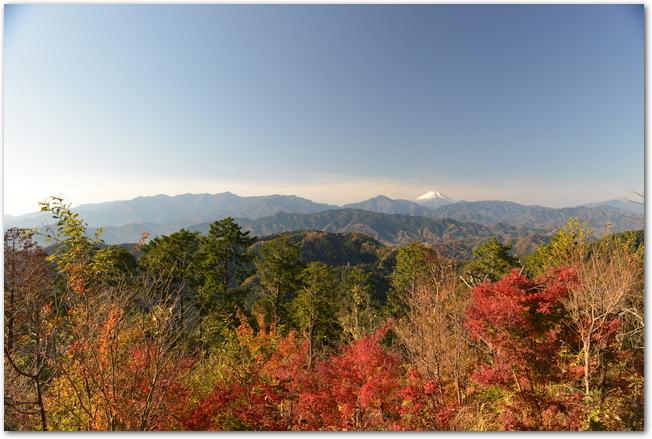 高尾山の紅葉と遠くに見える富士山の風景