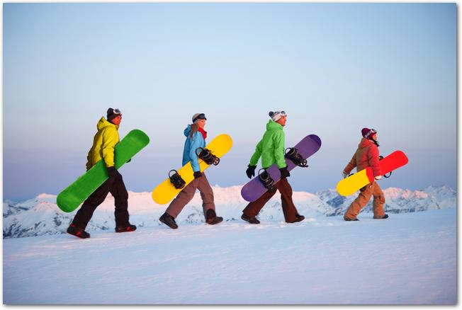 ゲレンデを歩くスノーボーダー達の予数