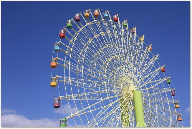 青空を背景に回るおもちゃ王国の観覧車