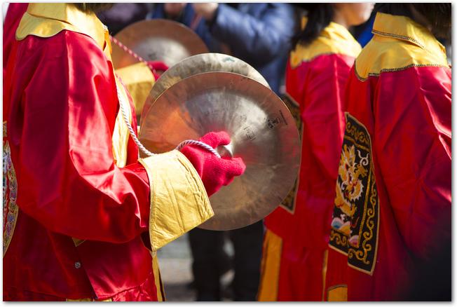 長崎ランタンフェスティバルの皇帝パレードの様子