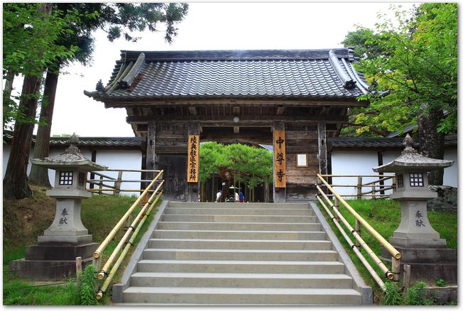 世界遺産の中尊寺本道の様子