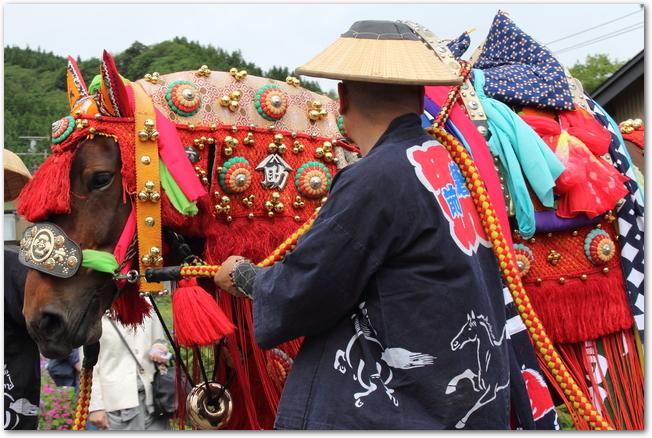 チャグチャグ馬コの衣装を着た人馬の行列