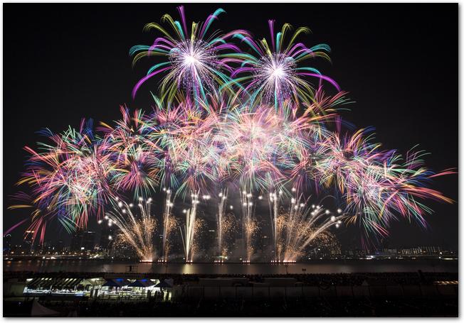 淀川花火大会で夜空に打ち上げられている花火
