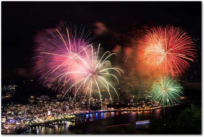 熱海花火大会での暖色の打ち上げ花火