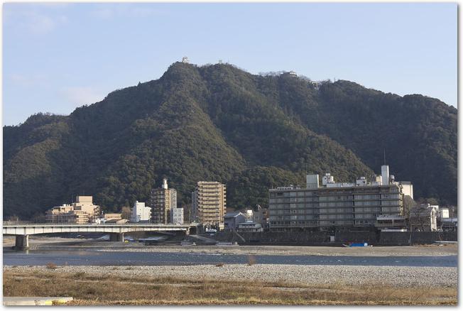 長良川沿いに建つ高層ビルなどの建物