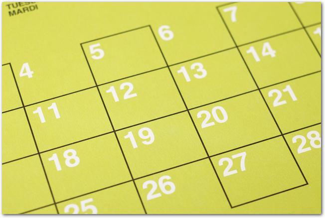 黄緑色のマンスリーカレンダー