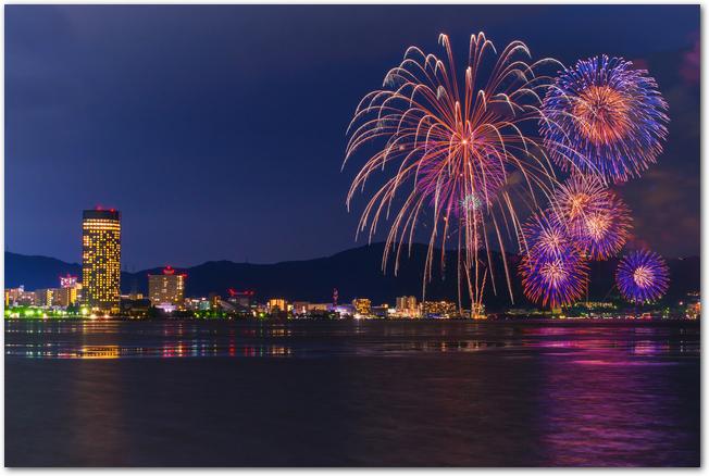 琵琶湖花火大会の打ち上げ花火と琵琶湖とビル