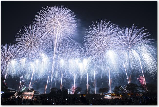 土浦全国花火競技大会の青いワイドスターマインの様子