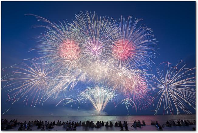 長良川の鵜飼いの屋形船と打ち上げ花火