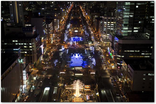 上から見たさっぽろホワイトイルミネーションでライトアップされた大通公園