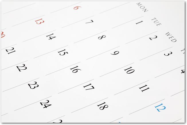 シンプルなマンスリーカレンダー