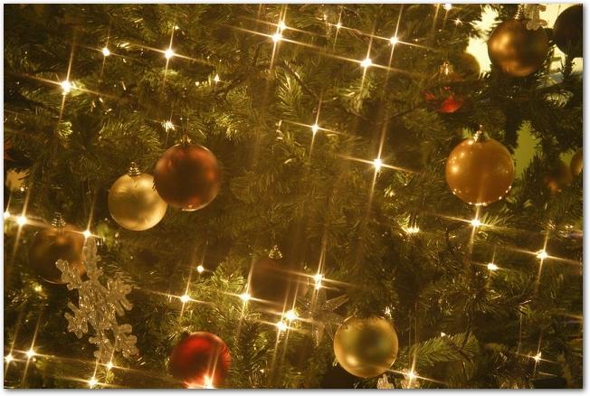 金色に輝くクリスマスツリーのイルミネーション