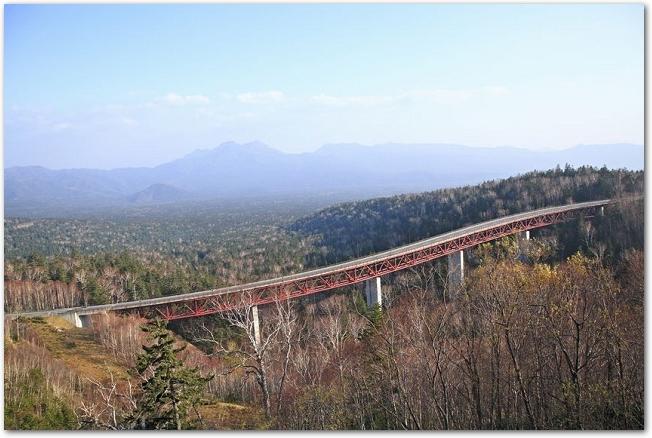 秋の松見大橋と森を見渡す風景
