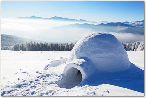 雪の上に作られたイグルー